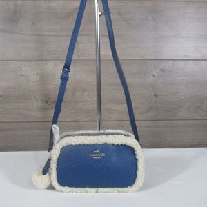 Coach F64706 Blue Pebble Leather Crossbody Bag